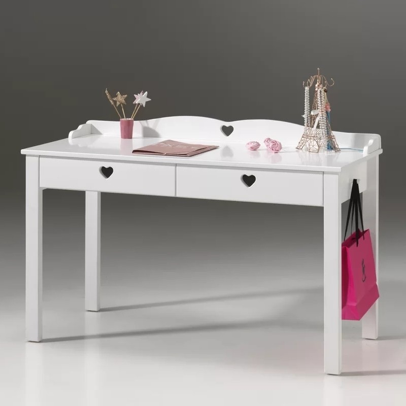White 2 drawer desk with heart-shape cut outs