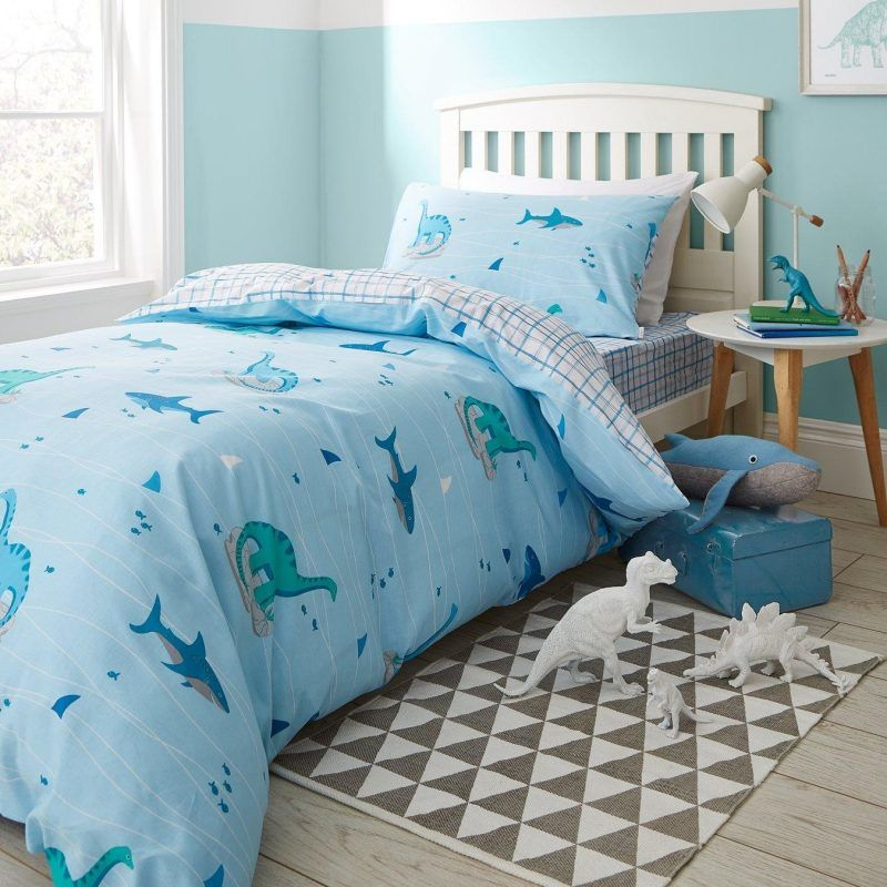 Pale blue bedding set with sharks and dinosaur print