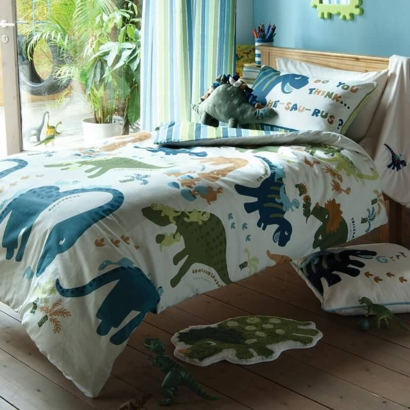 Playful dinosaurs print bedding