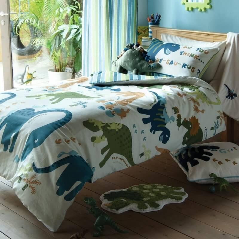 Playful dinosaurs print bedding