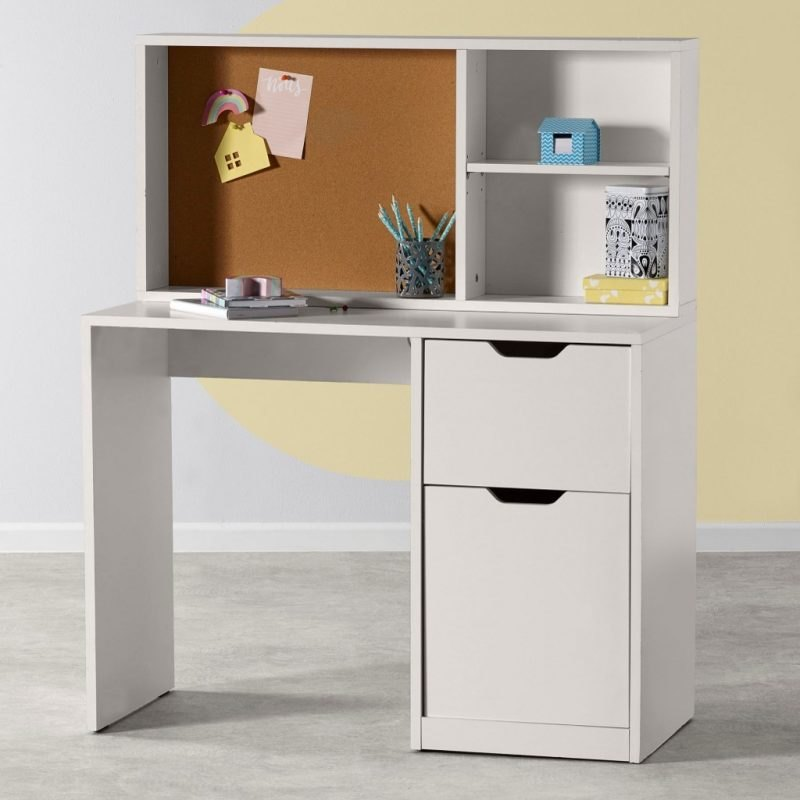 White desk with storage section