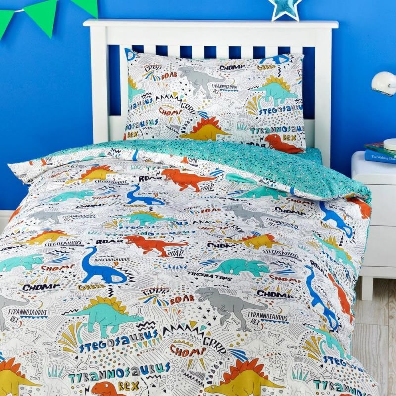 Dinosaur print bedding with jade green reverse
