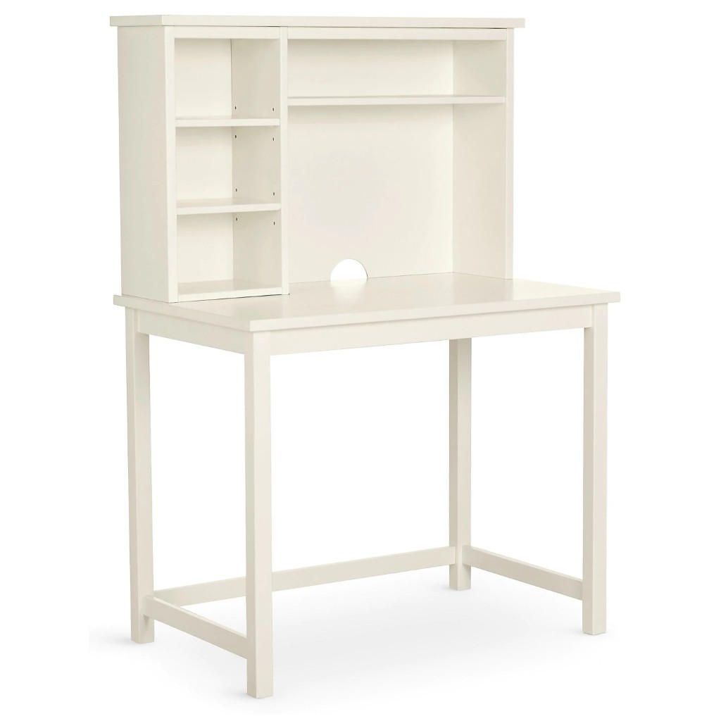 White panted desk with storage hutch