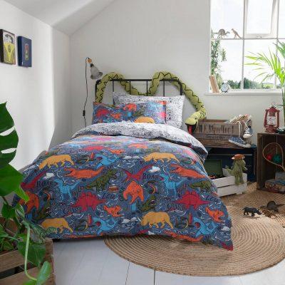 Multi-print dinosaur bedding set