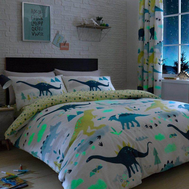 Dinosaur duvet set with glow in the dark graphics