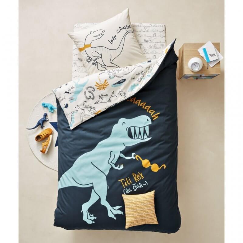 Dark blue dinosaur print duvet cover