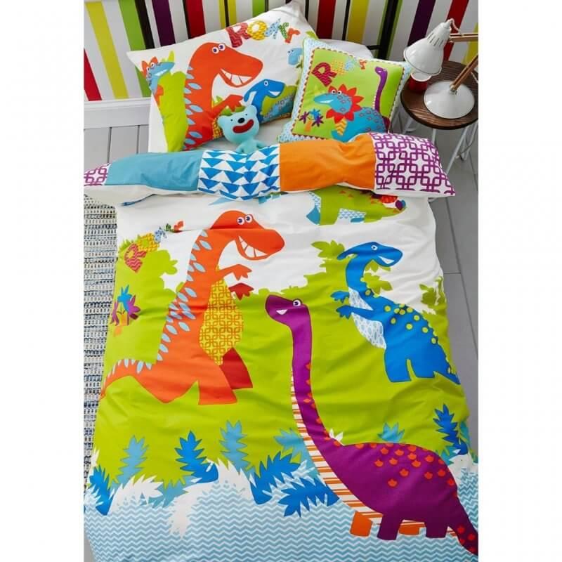 Brightly coloured dinosaur print bedding