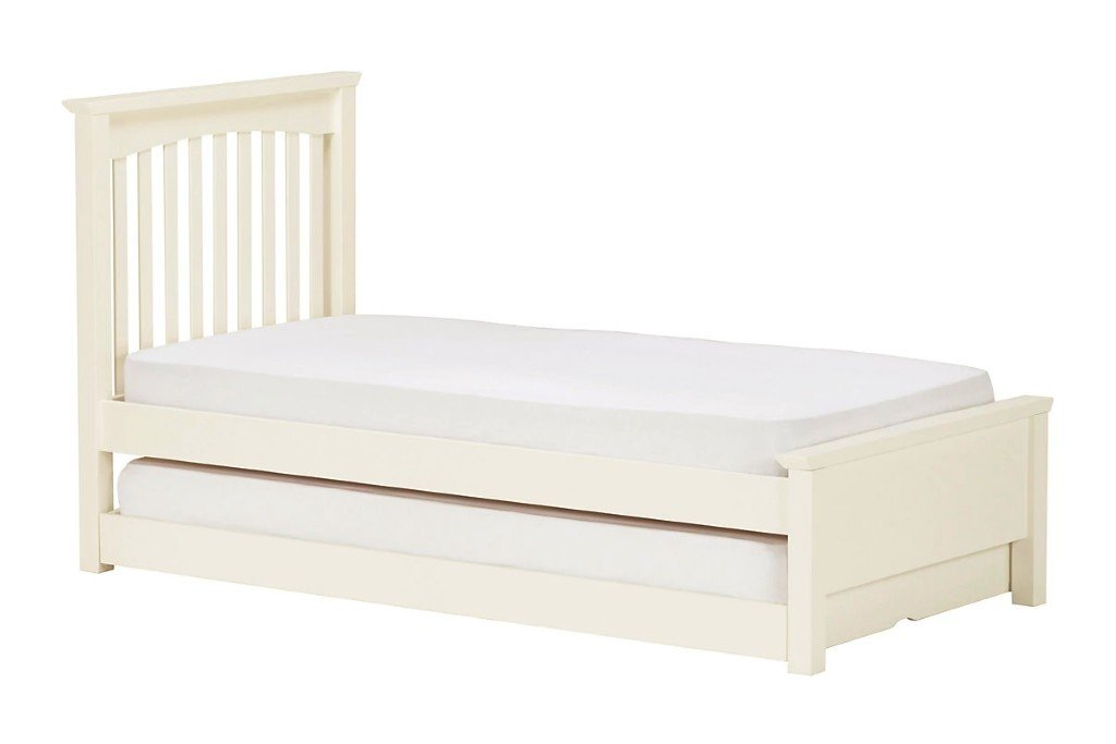 Kid's ivory painted single bed with truckle