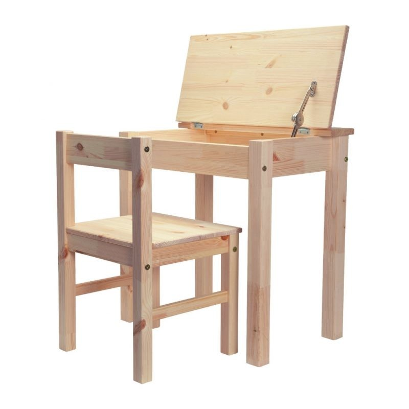 Chunky pine desk and chair set