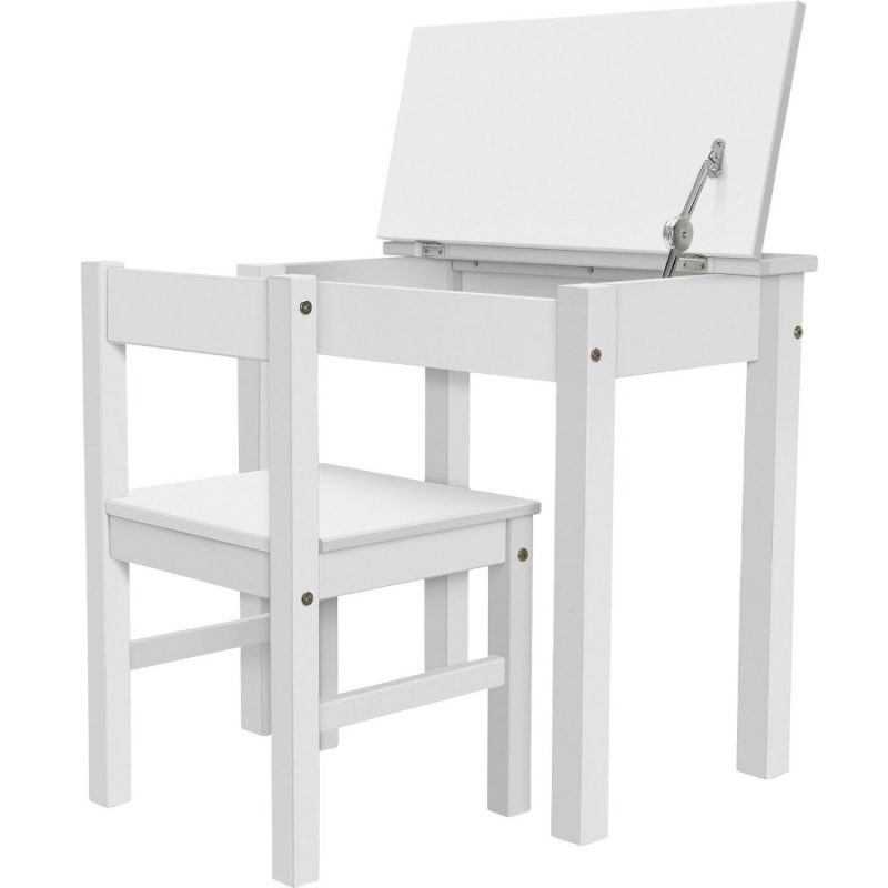 Whit painted school desk and chair