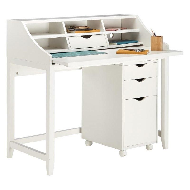 White hutch style desk
