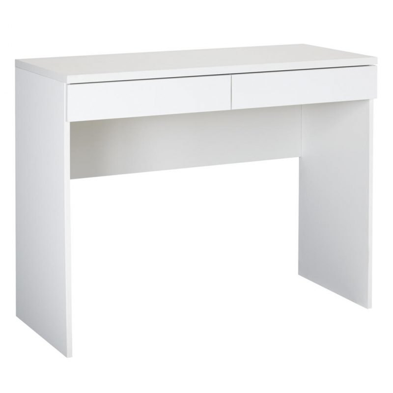 Modern matt white desk with 2 drawers