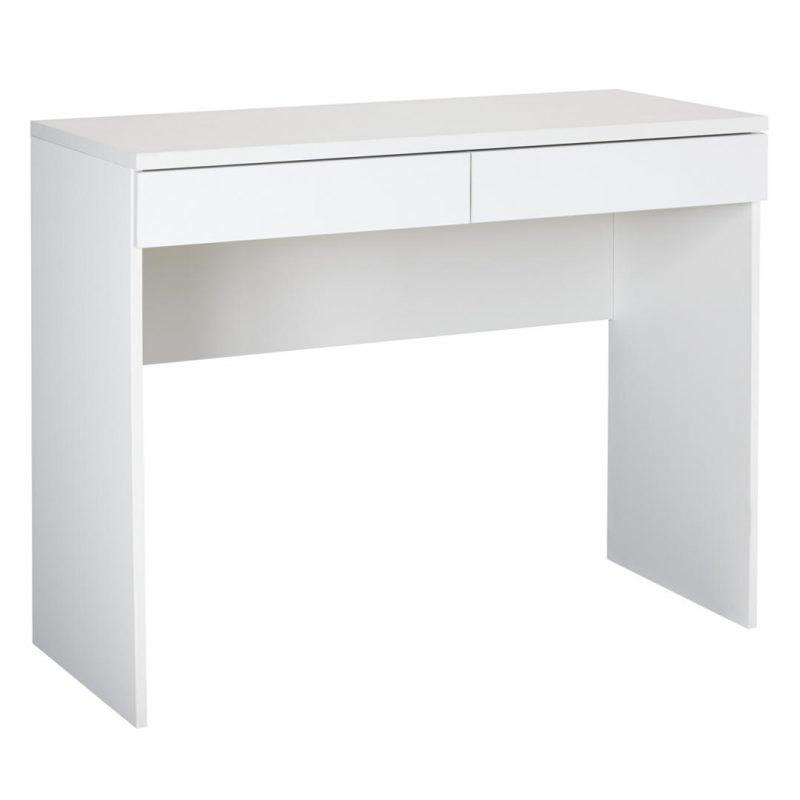 Modern matt white desk with 2 drawers