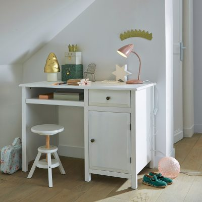 White-painted child's desk with cupboard and drawer