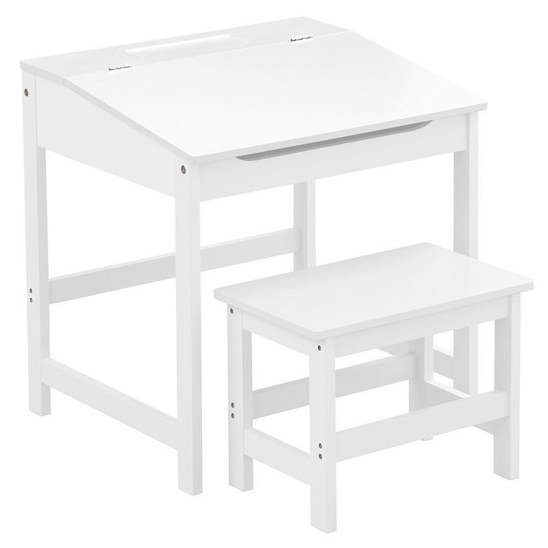 Simple school type desk and stool with flip top lid White
