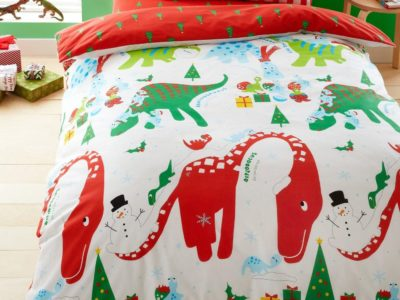 Red and white dinosaur bedding