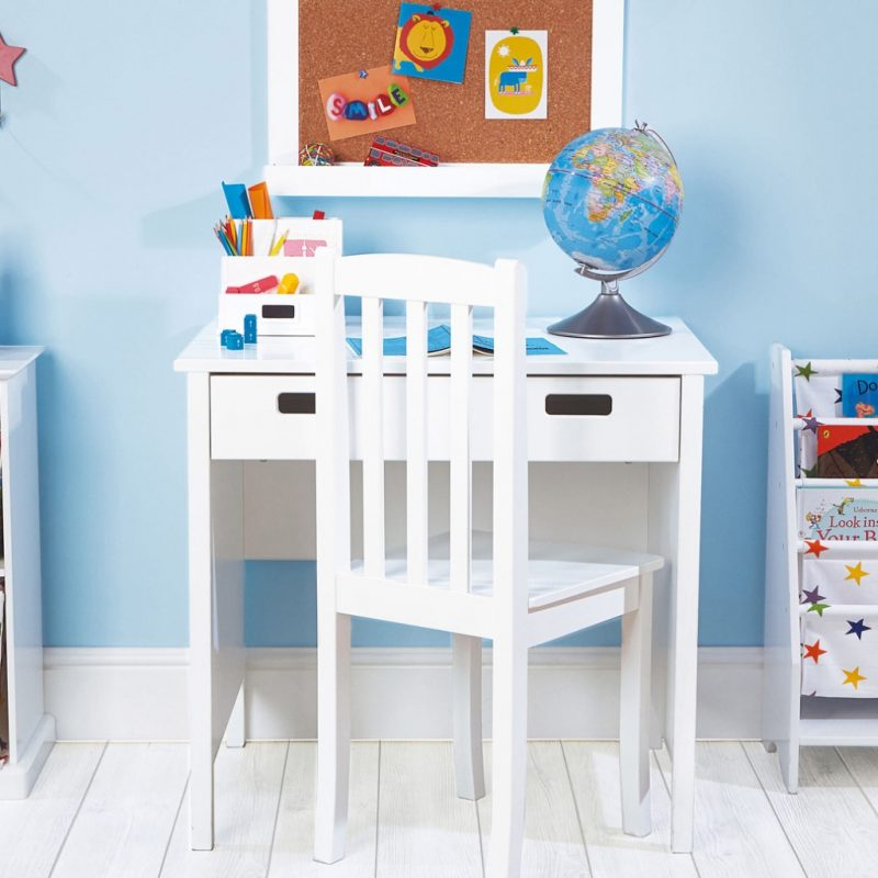 Small white painted desk with 2 drawers