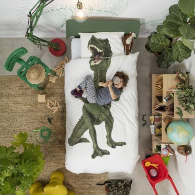 Kids bedding set with a full-size dinosaur print