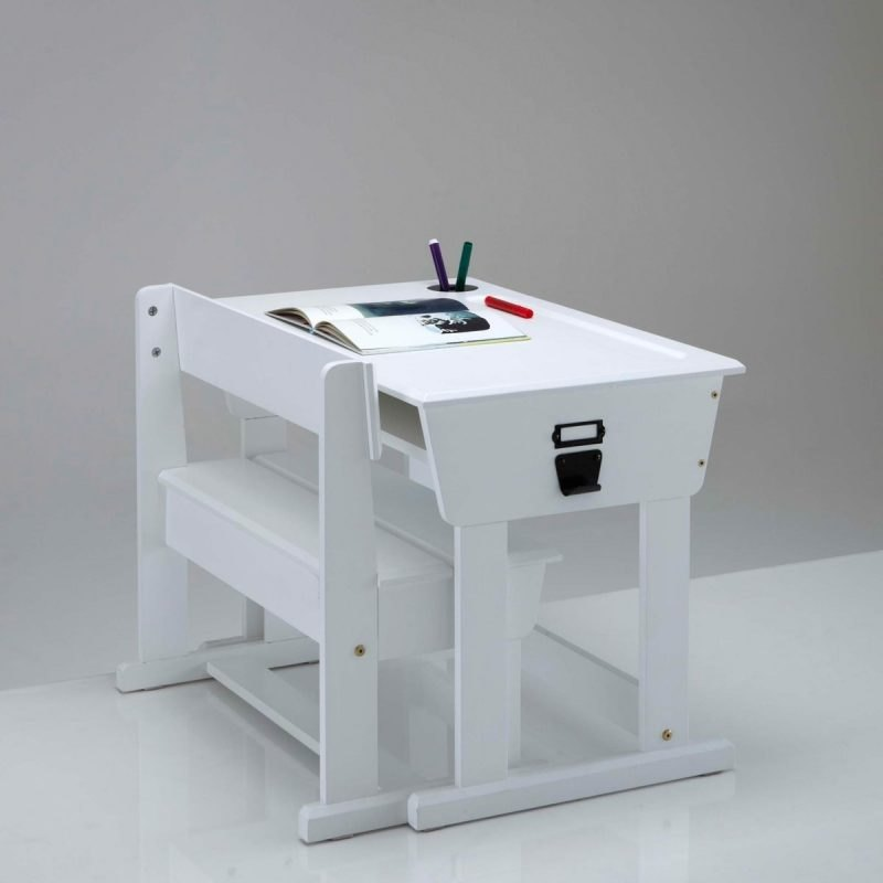 White-painted school desk and chair