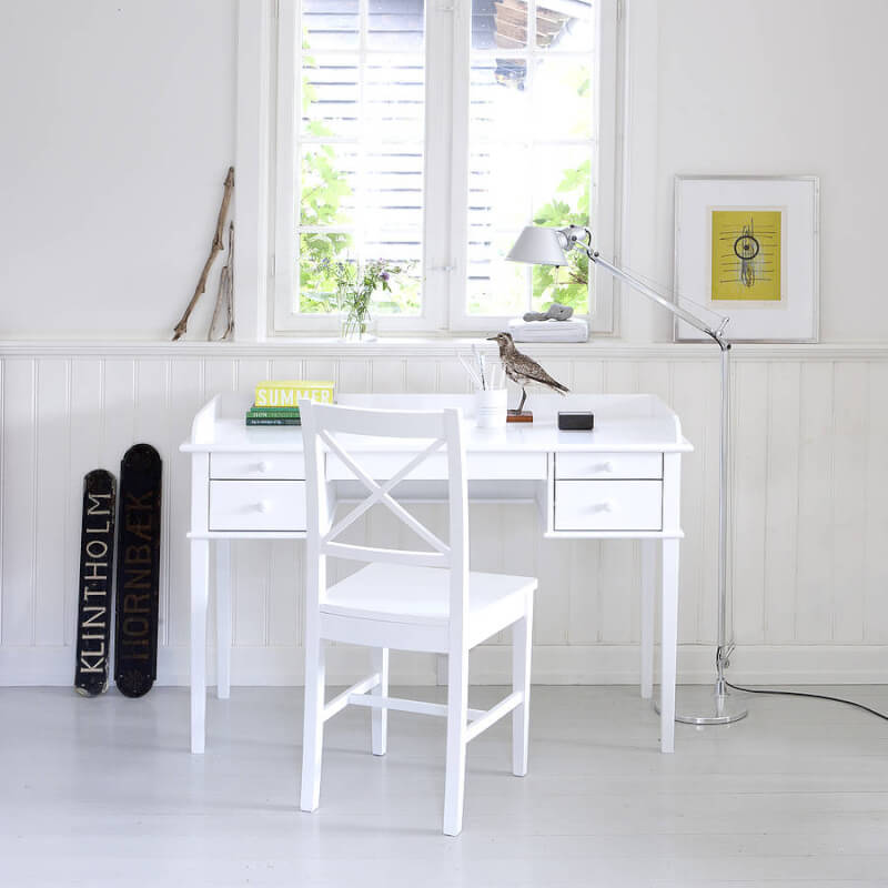 Child's White Scandinavian Style Desk and Chair