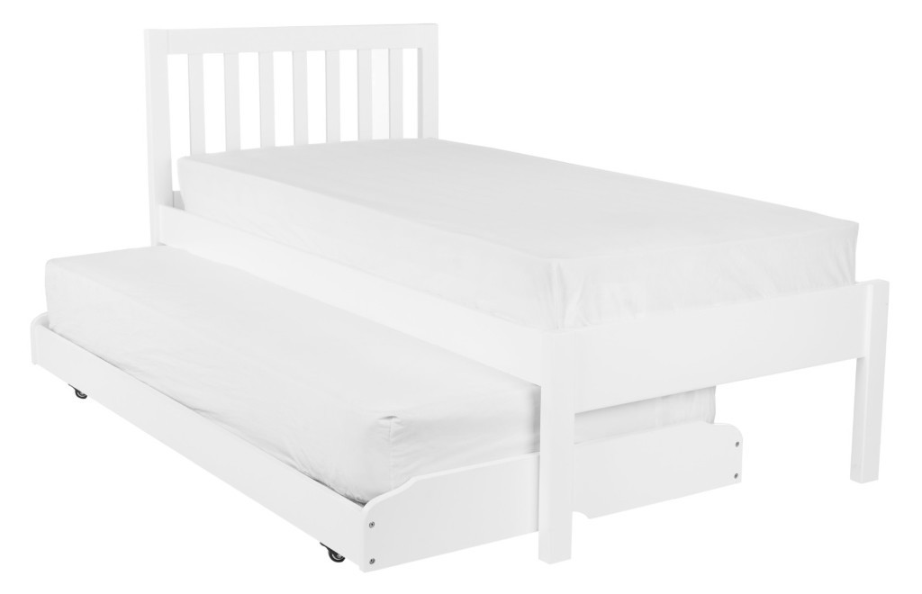 White painted single bed with trundle