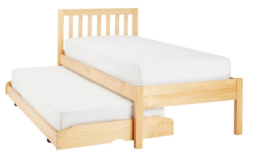 Natural wood guest bed