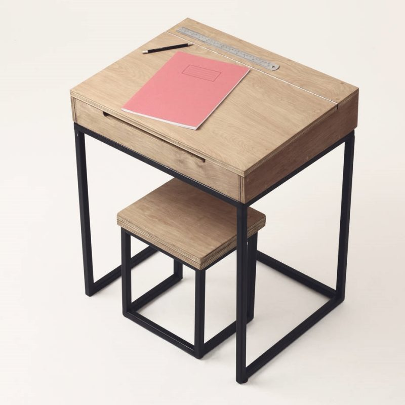 Wooden Children S Desk And Stool