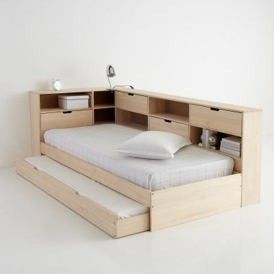 Pine single bed with pull-out guest bed
