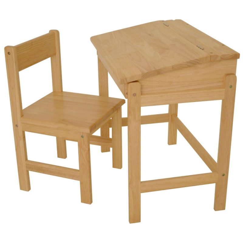 Solid wood school desk and chair