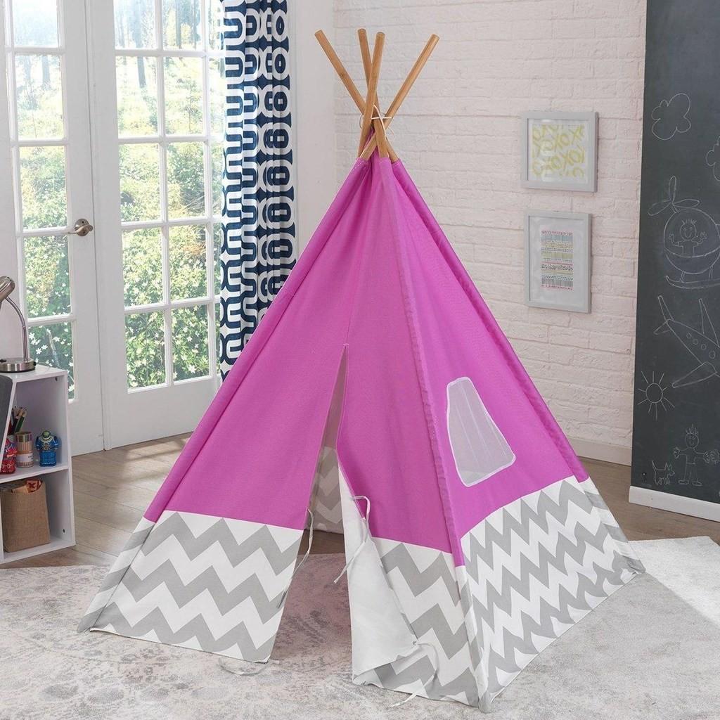 Pink teepee with chevron stripe