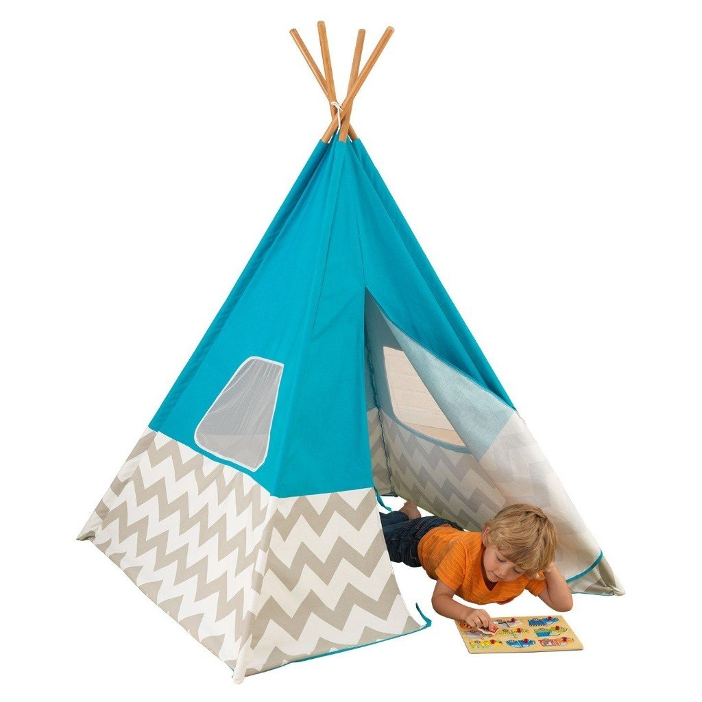 Kid's play tent with turquoise coloured cover