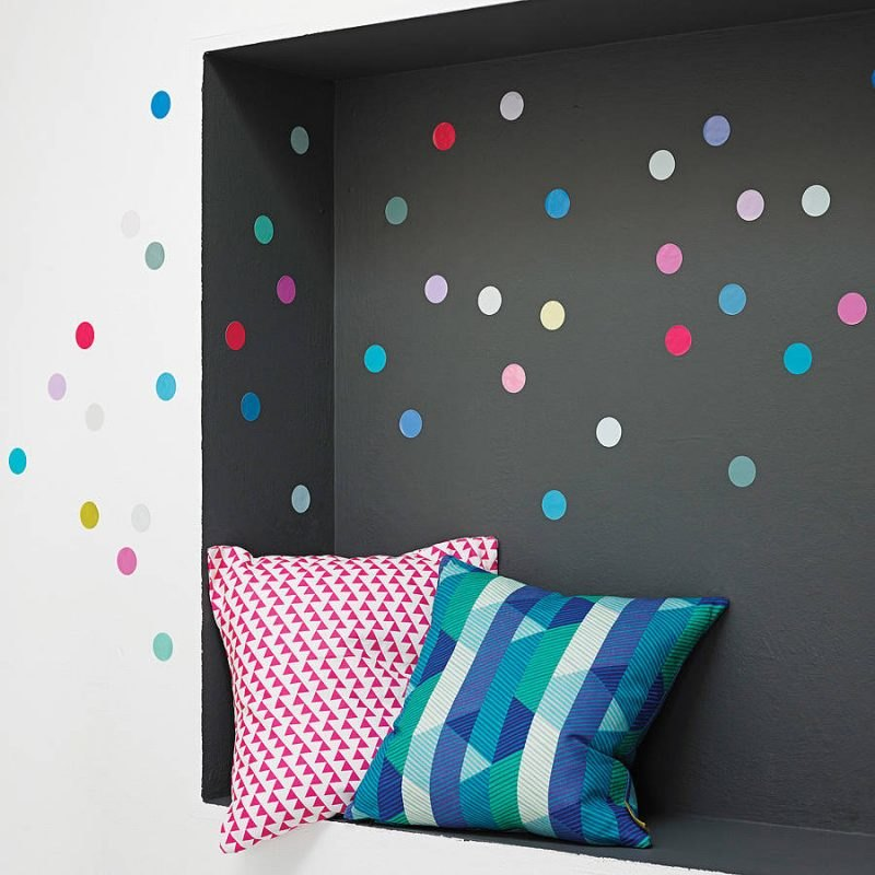 Creative use of polka dot wall stickers