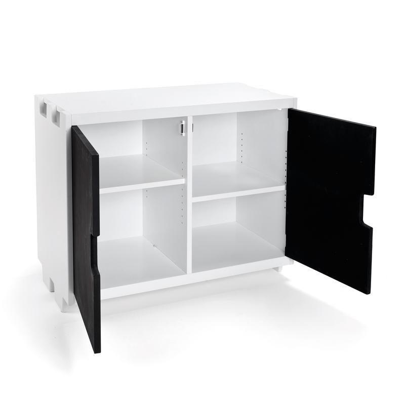 Cupboard unit with chalkboard doors