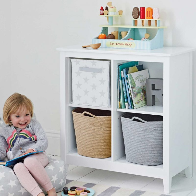 4 cube, white painted bookcase