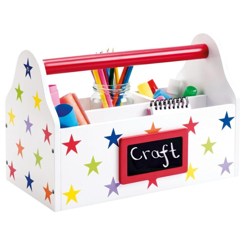 White carry caddy with multi-colour stars print