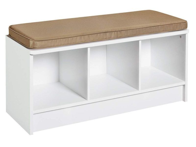 White storage bench with 3 compartments and beige seat cushion