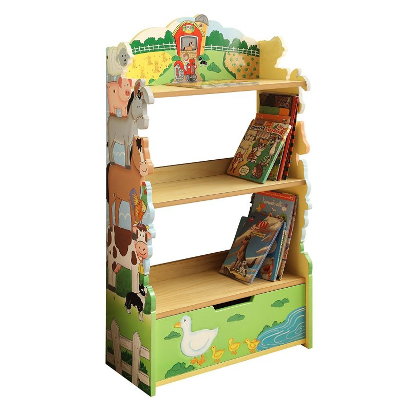 Farm animals theme painted bookcase