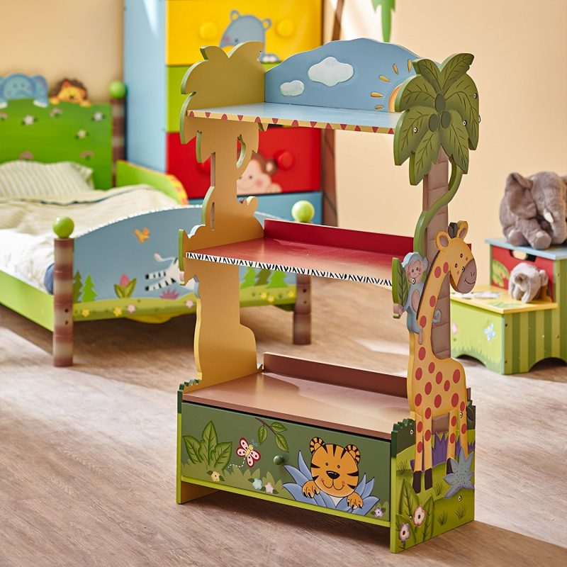 Safari theme painted bookcase
