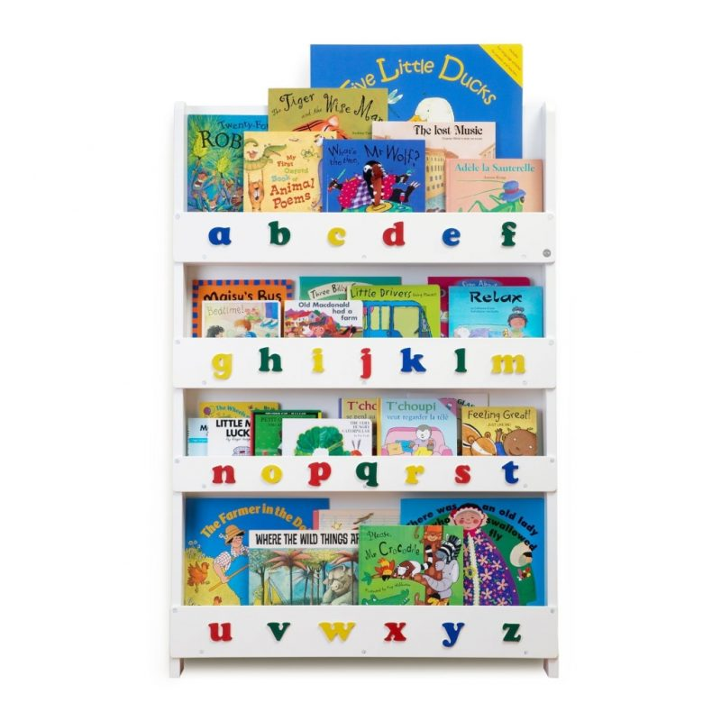 White forward facing bookcase with alphabet letters on the front