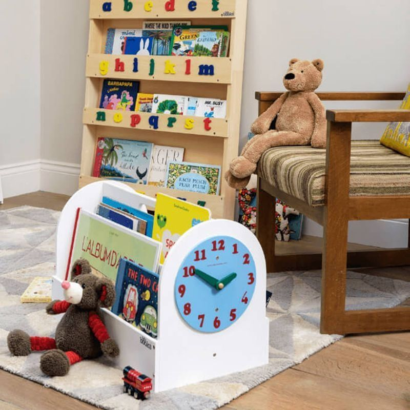 Kid's book caddy with clock face