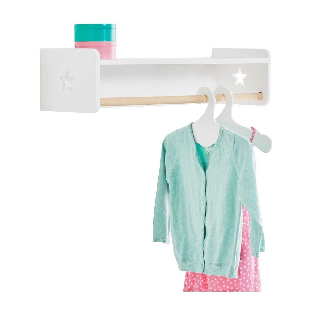 Kid's wall-mounted clothes rail