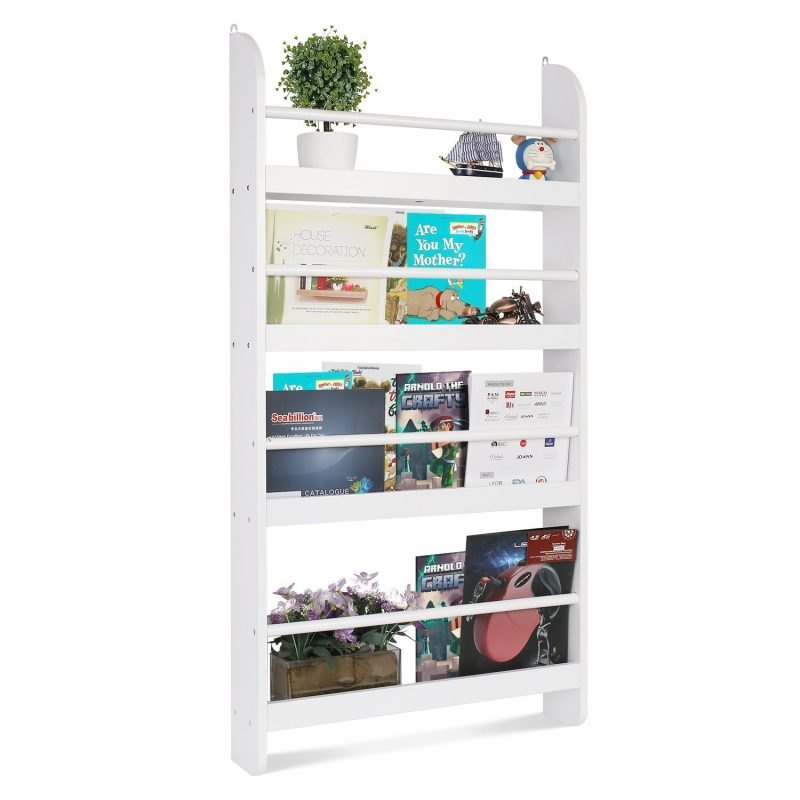 4-tier wall-mounted bookcase