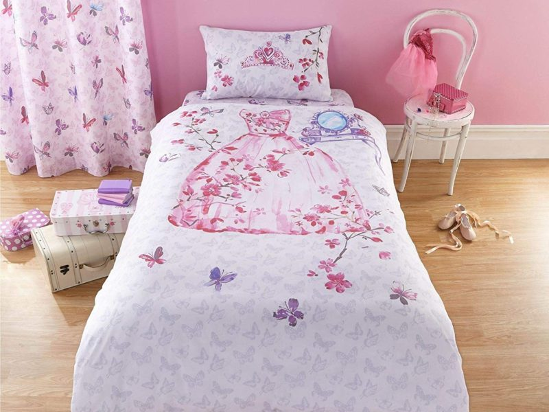 Pink princess themed bedding set