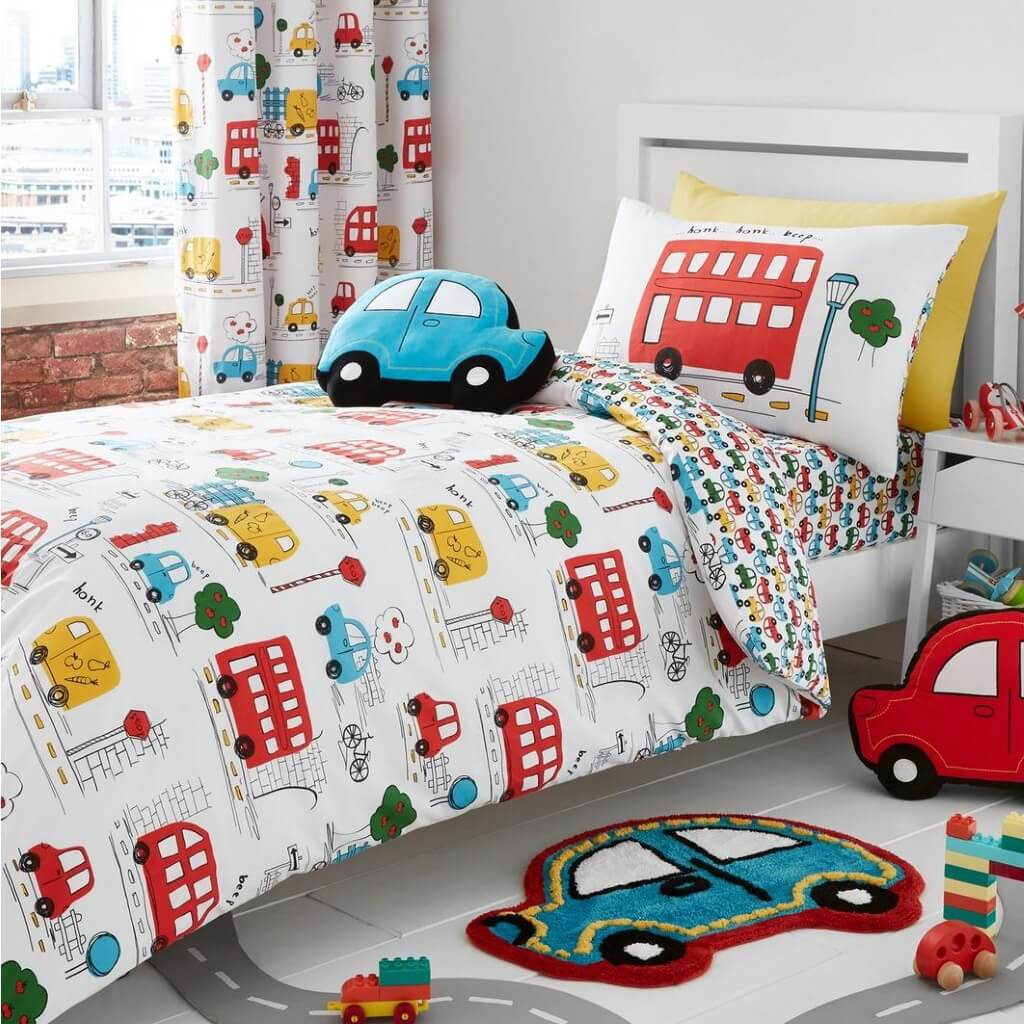 Cute kids bedding set with whimsical busses, vans and cars print