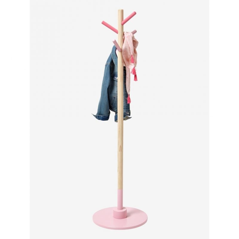 Kid's pink and natural wood coat stand