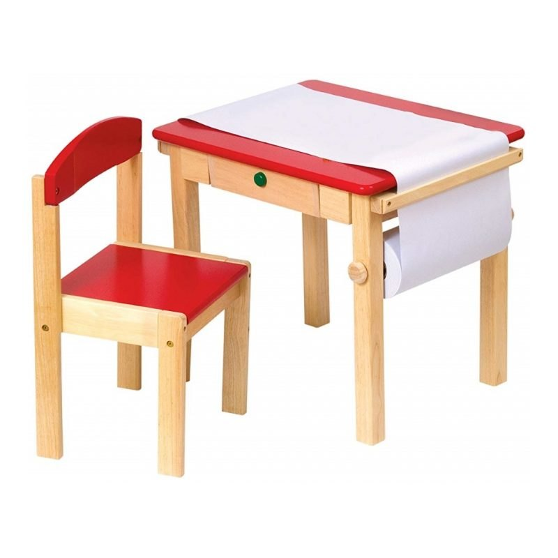 Table and chair with continuous paper roll