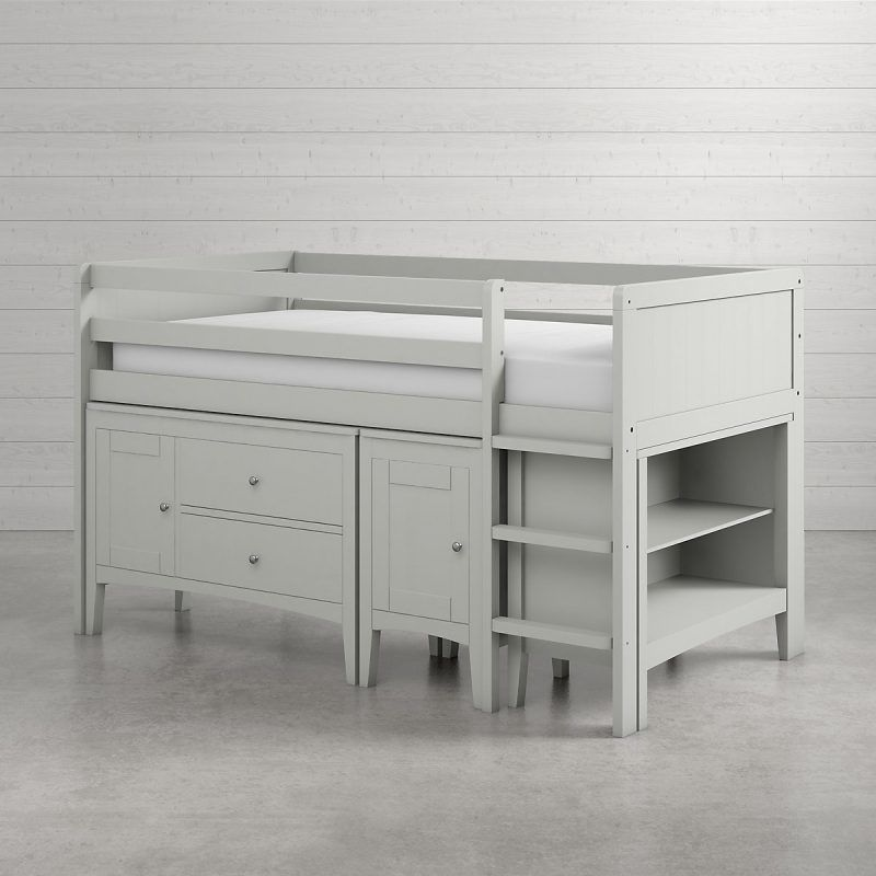 Grey-painted cabin bed