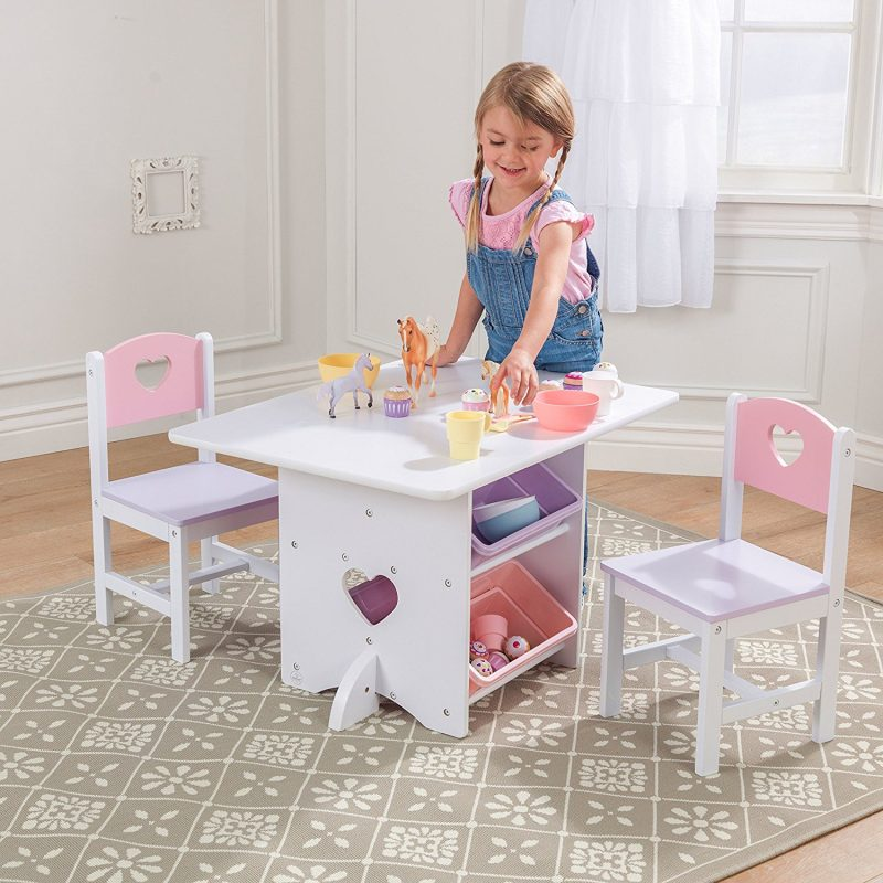 Table and Chair Set with Pastel Coloured Storage Bins