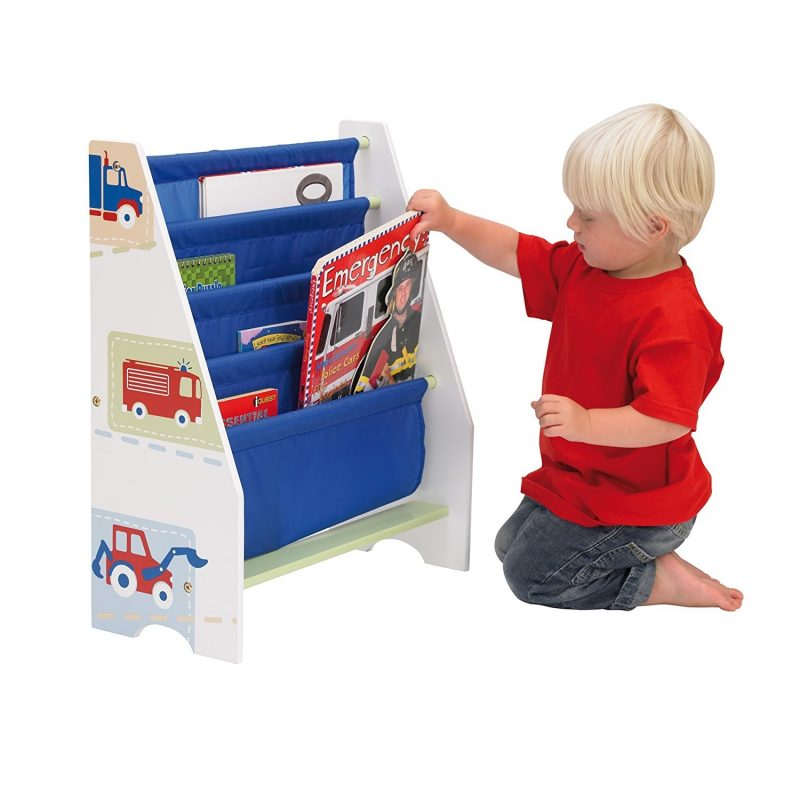 Sling bookcase with vehicle prints on side