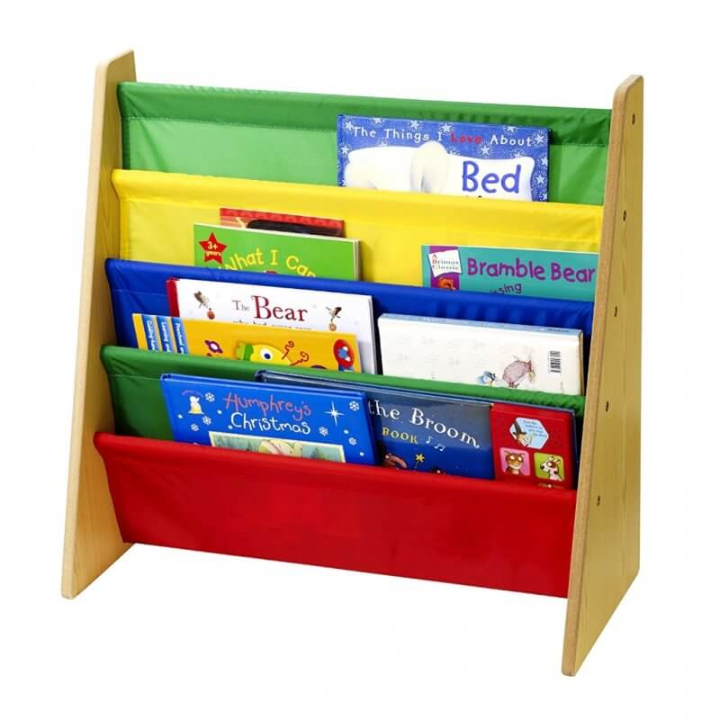 Sling style bookcase with multi-colour shelves